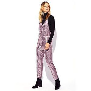 Free People Blush Sequin Pantsuit Jumpsuit Medium